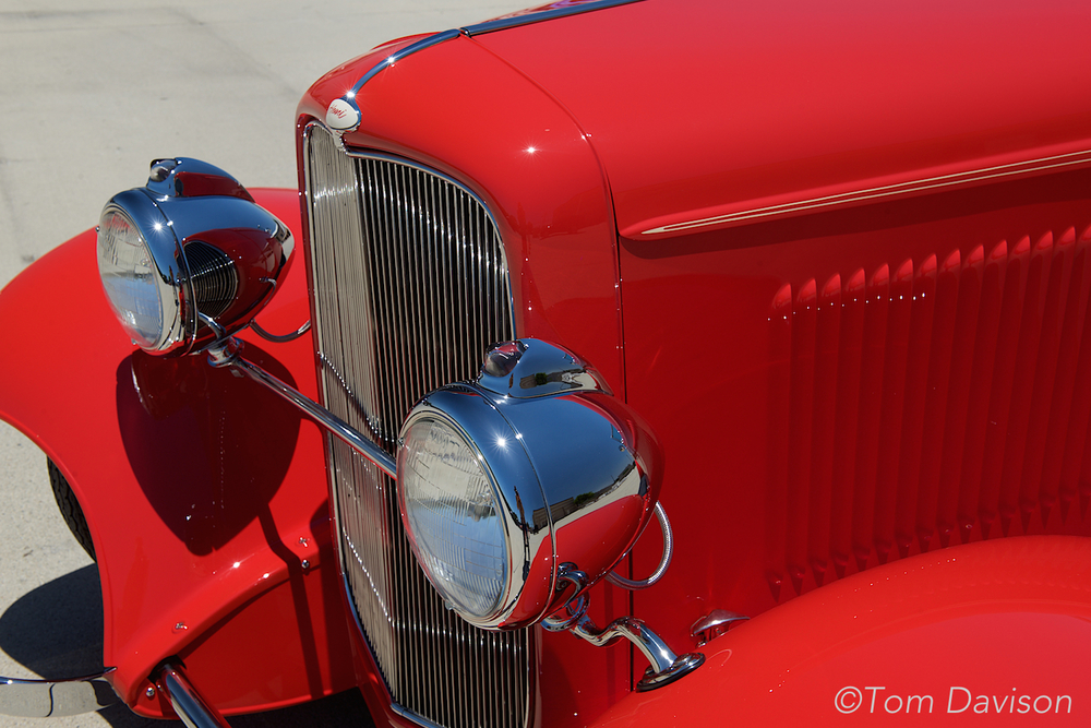 Detail of 1932 Ford grill and lights.