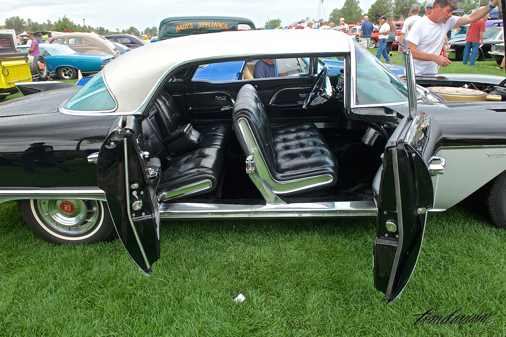 One of Tom's favorite 1950's cars is the 1957 Cadillac Eldorado Brougham. Produced in very low numbers, Cadillac built the chassis' in Detroit, then shipped them to Italy where the custom coach bodywork was formed by hand. They sold for $13,078 at a time when the regular Cadillac was only about $4000. One of its key features was the opposingly hinged doors which provided much easier entry.