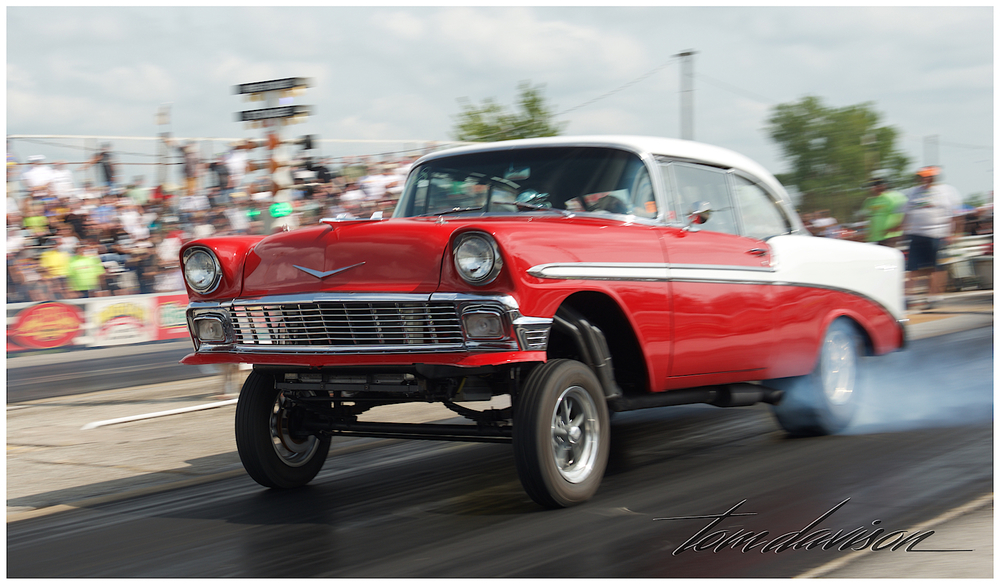 1956 Chevy Bel Air in racing mode.  I can almost smell the rubber!