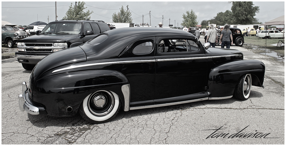 Nicely finished 1946 Ford coupe with chopped top.