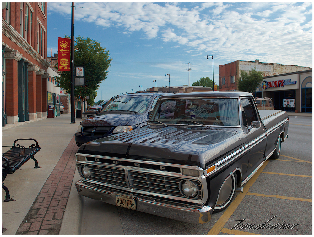 A 1970 Ford pickup parked along Main Street in Pittsburgh, KS.  It is a beautiful small college town located near the Missouri border.