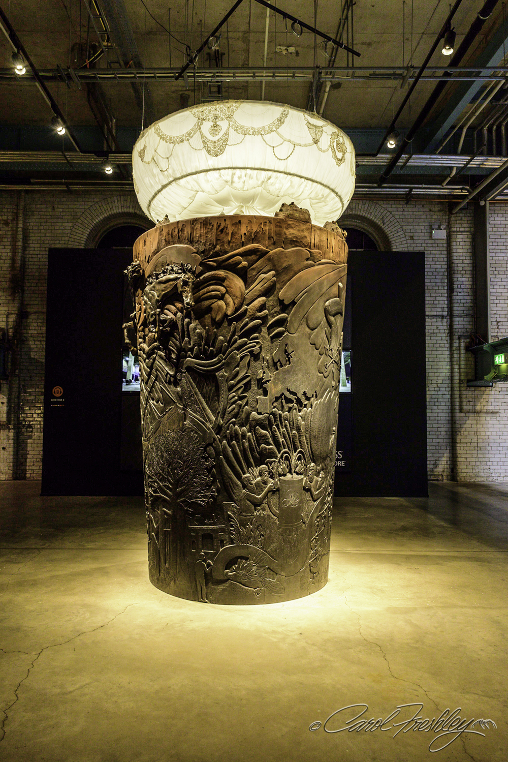 This is a 12 foot tall, 2 ton wooden sculpture created to look like a pint of Guinness.  There is a great video on site showing how it was designed and built.