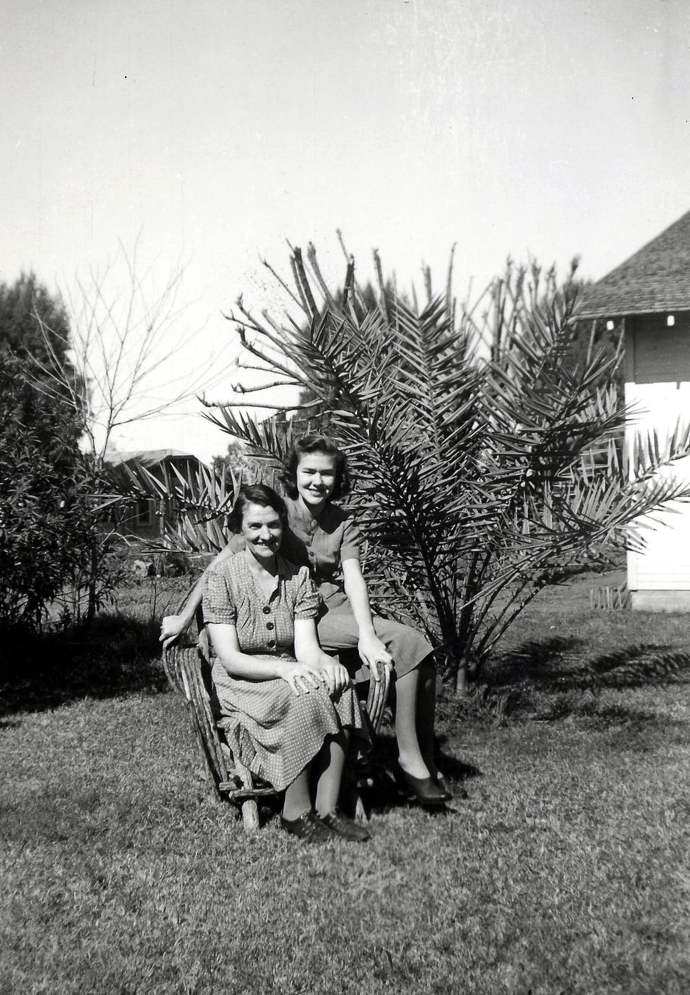 Mom and her mom.  My mom continued to live at home until she married.  That way she could help her mom with expenses and provide some companionship.