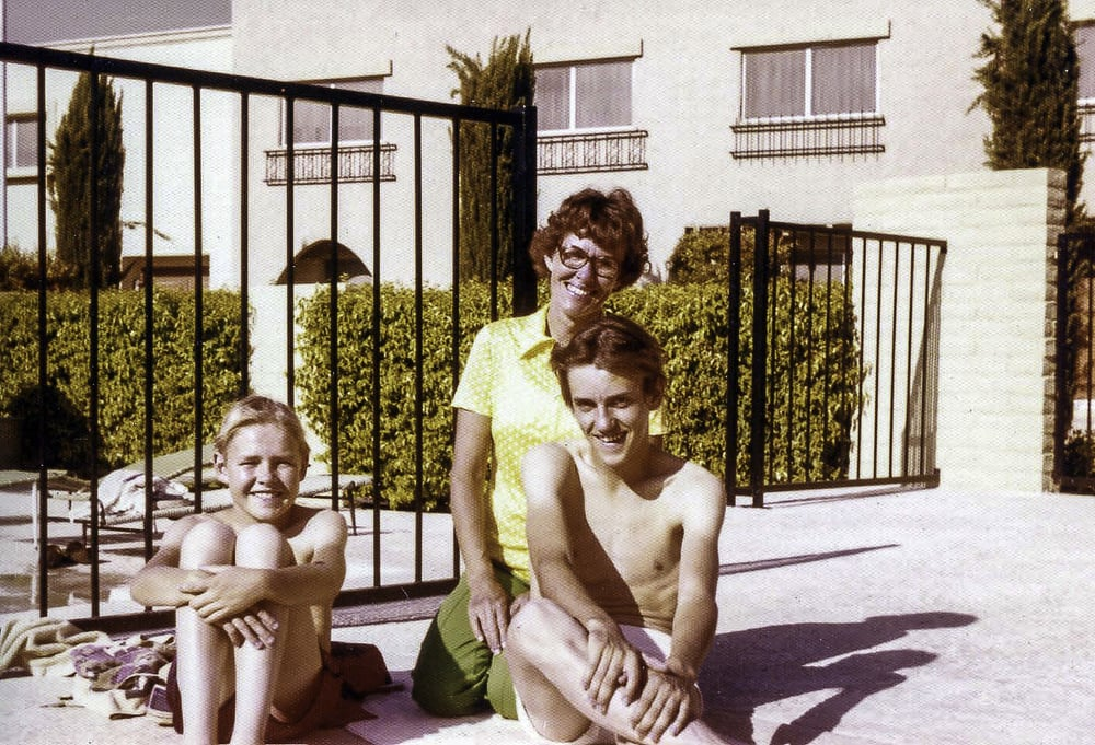 Mom with Joe and Larry on vacation.