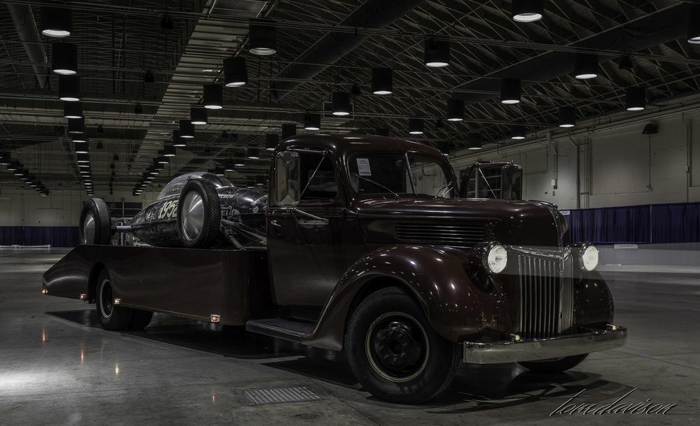 1939 Ford hauler with salt flats racer