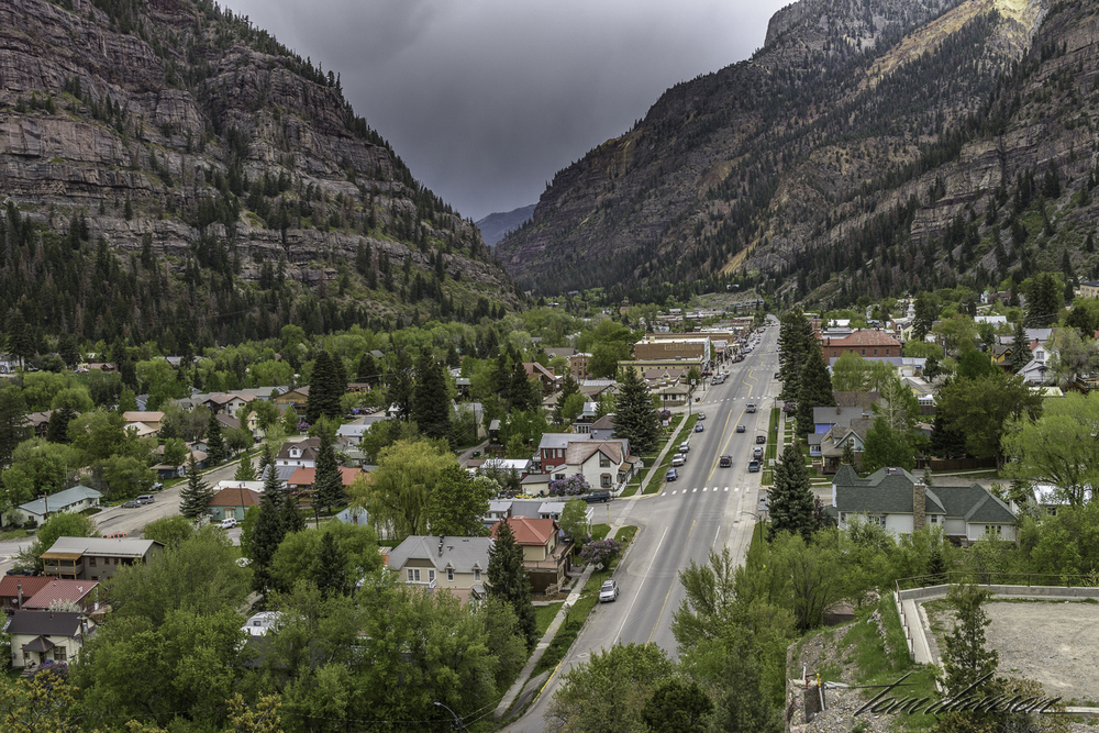 Looking down on Main Street in Ouray on our way out of town headed south to Silverton.