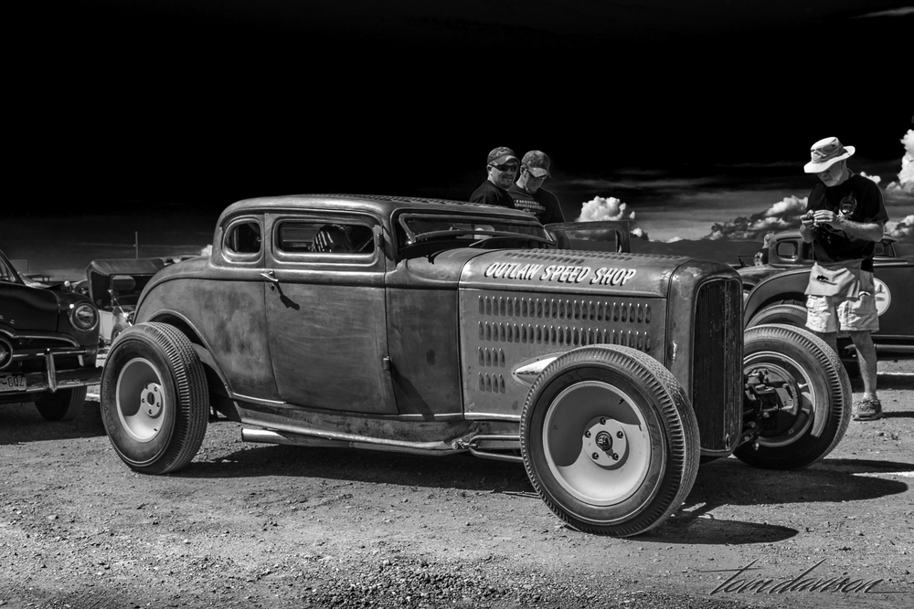 This is an 'outlaw' 1932 Ford coupe with extreme chopped top.