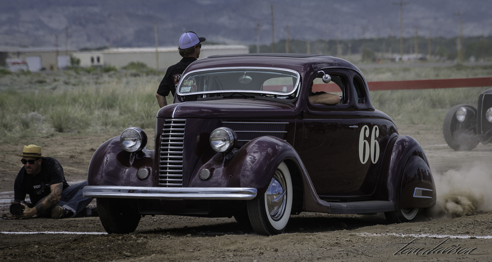1936 Custom Ford.  He is really taking off at the finish line.