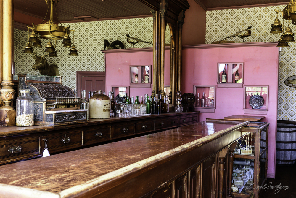 This is the saloon.  My guess is that the pink is a faded red.