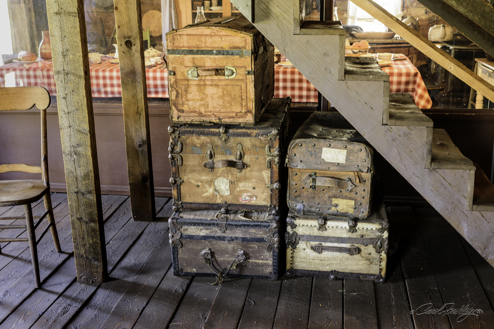 A closer look at some well worn luggage.