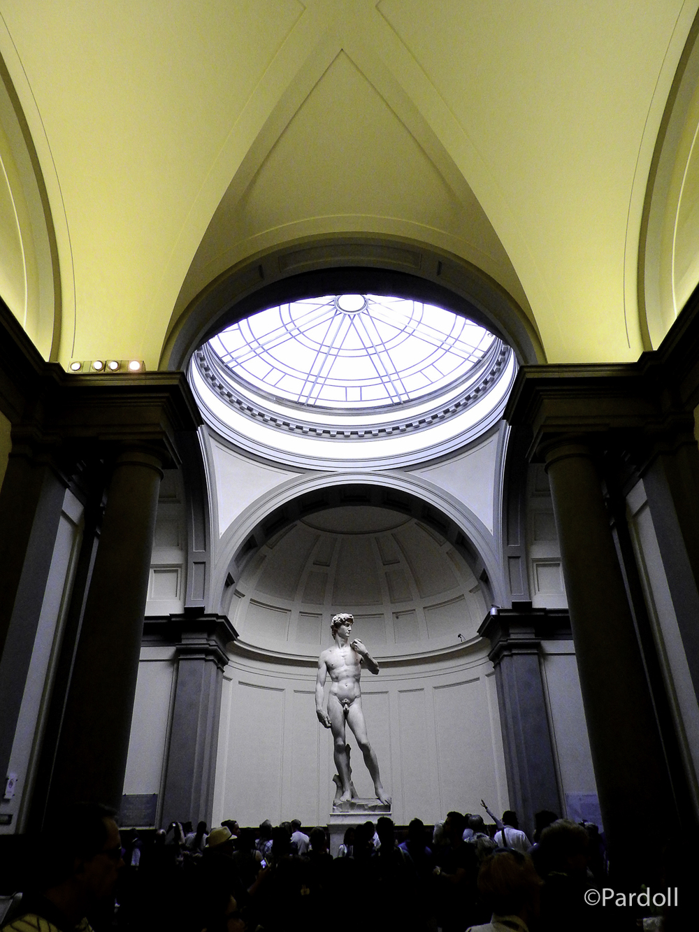 David by Michelangelo.  Nice perspective using people to show just how large this statue is.