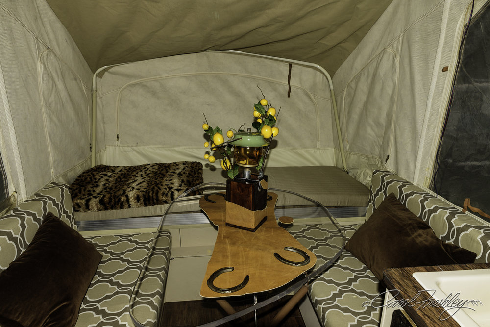 A fixed-up!  Sort of a camper honeymoon suite with horseshoes for luck!