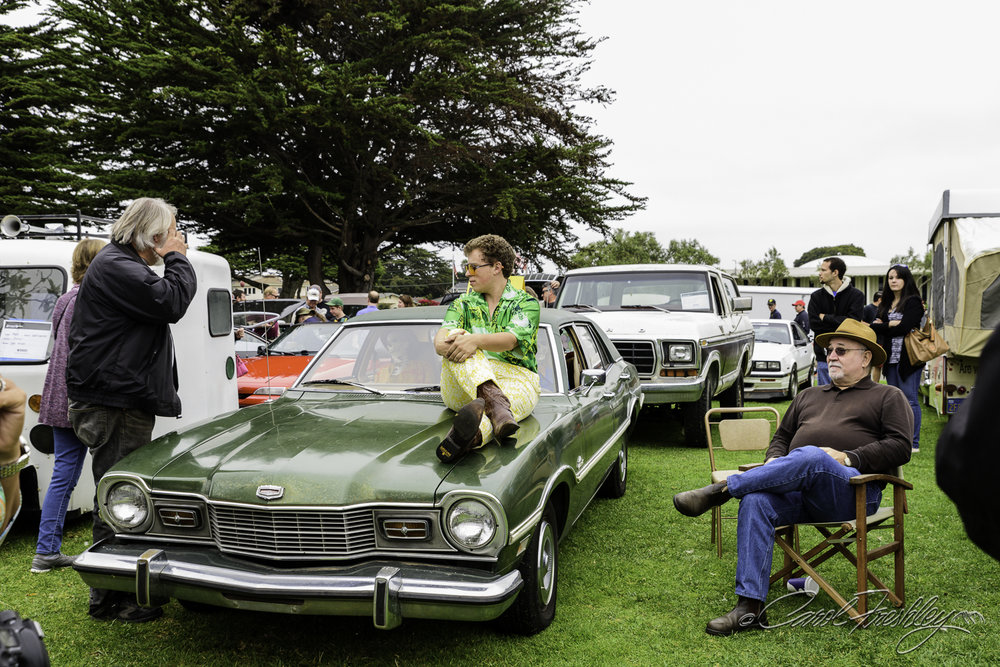 Can't imagine that the folks at Pebble Beach sit on their cars.  And with boots on!!