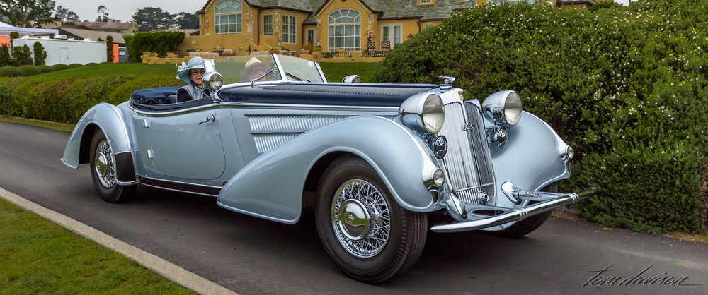 Participants dressed to match the era of their cars.  This is a German made Horch.  It is a part of the Auto Union Company, another featured marque this year.  The modern Audi evolved from the Auto Union Company.