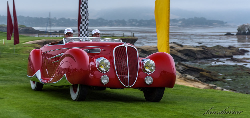 A Delahaye Roadster with full skirted fenders and adjustable windshield height.