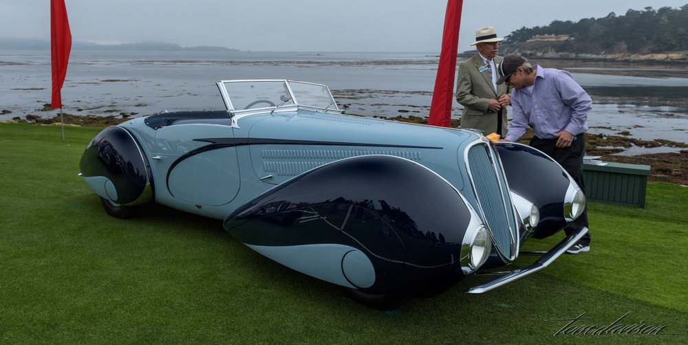 This is a streamlined Delahaye roadster with a body by Chabron.