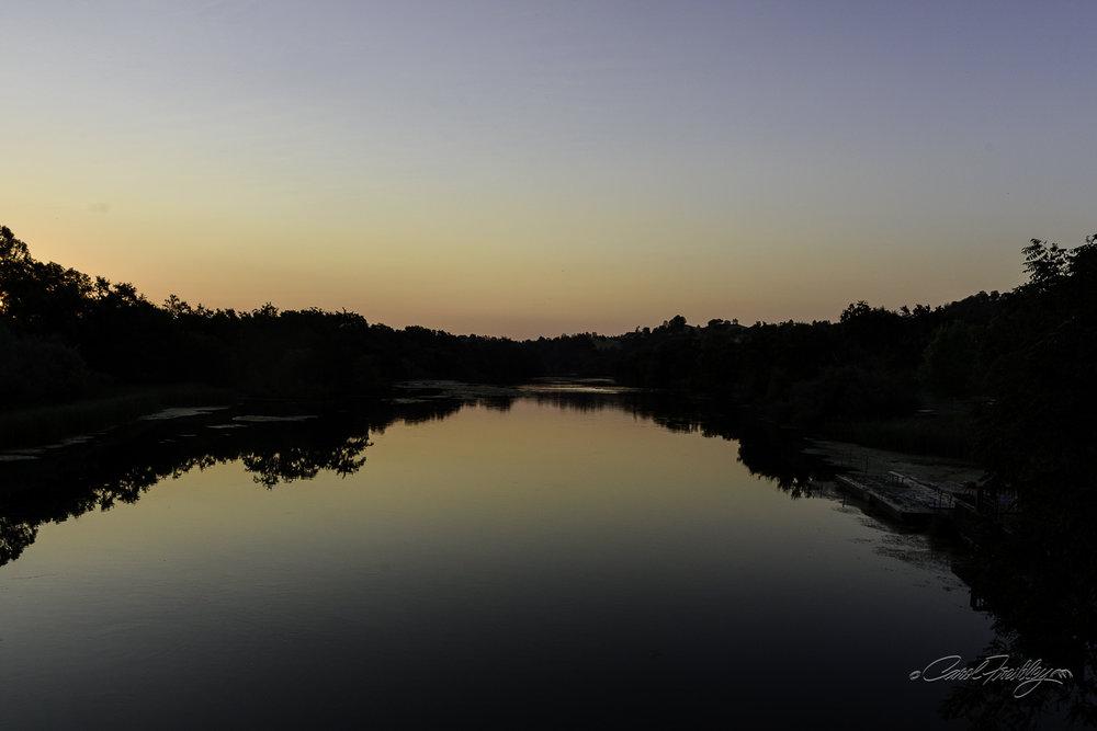 Sunrise on Putah Creek from the bridge.