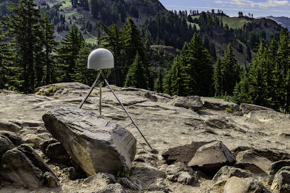 An off-item to find at a pull-out on our way to Bumpass Hell.  It is part of 'Earth Scope', a network of 875 stations along the western US whose purpose is to trace and study the movement of the earth's crust.  It uses satellites from the Global Positioning System to keep track of this antenna's position.  Movement as small as 1/8 of an inch is detectable.