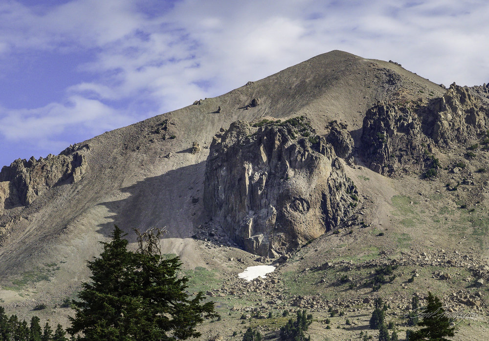This rock formation is seen on the south face of Mt. Lassen.  There are still some patches of snow at the top.