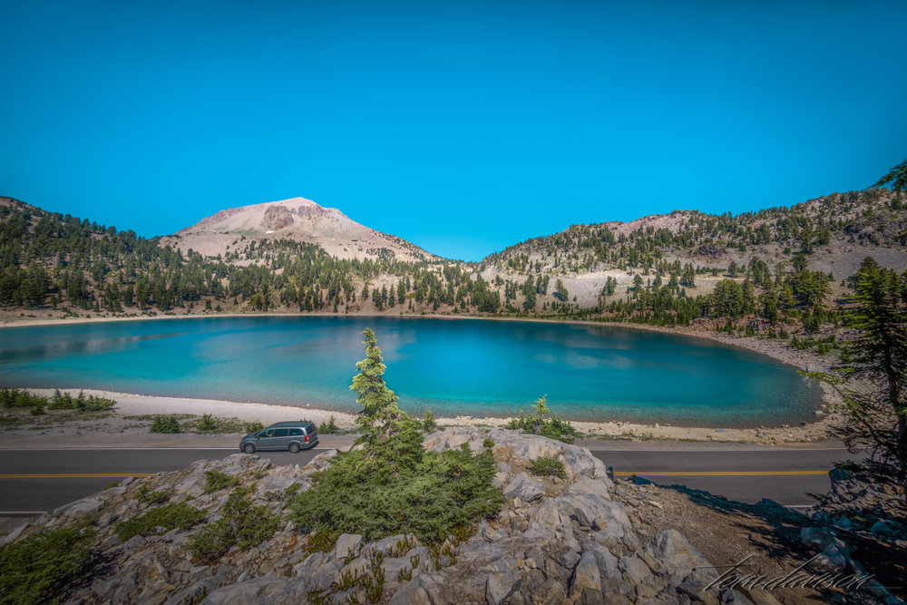 Just up the road from Emerald Lake is Lake Helen.  This lake is glacier fed and a shimmering dark blue.  This photos was taken while on our hike to Bumpass Hell.
