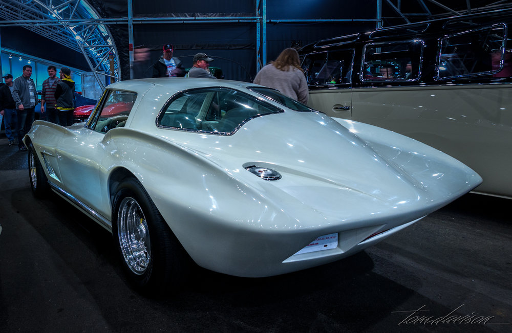 This was Tom's 1963 Corvette Stingray that he owned for a brief time in 1971.  He purchased it at a bargain basement price.  It had been neglected and Tom sold it when he decided it would require more repair than he was willing to put into it.  It has been restored by subsequent owners, including the Peterson Museum.  It was sold at the auction for $62,000.