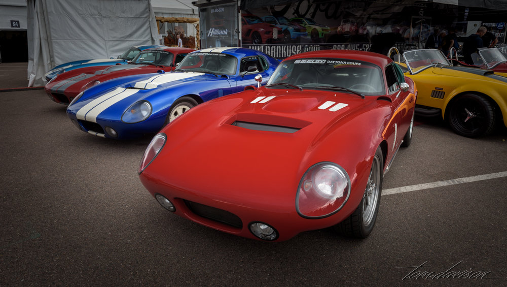 Rare Ford Cobra Daytona Coupes built for the road racing circuit.  First car to challenge Ferrari's domination of that type of racing.