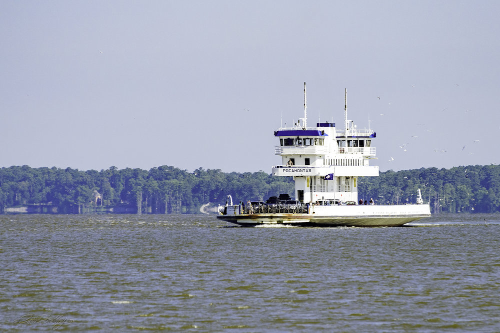 On our way across the James River we passed a ferry just like ours!