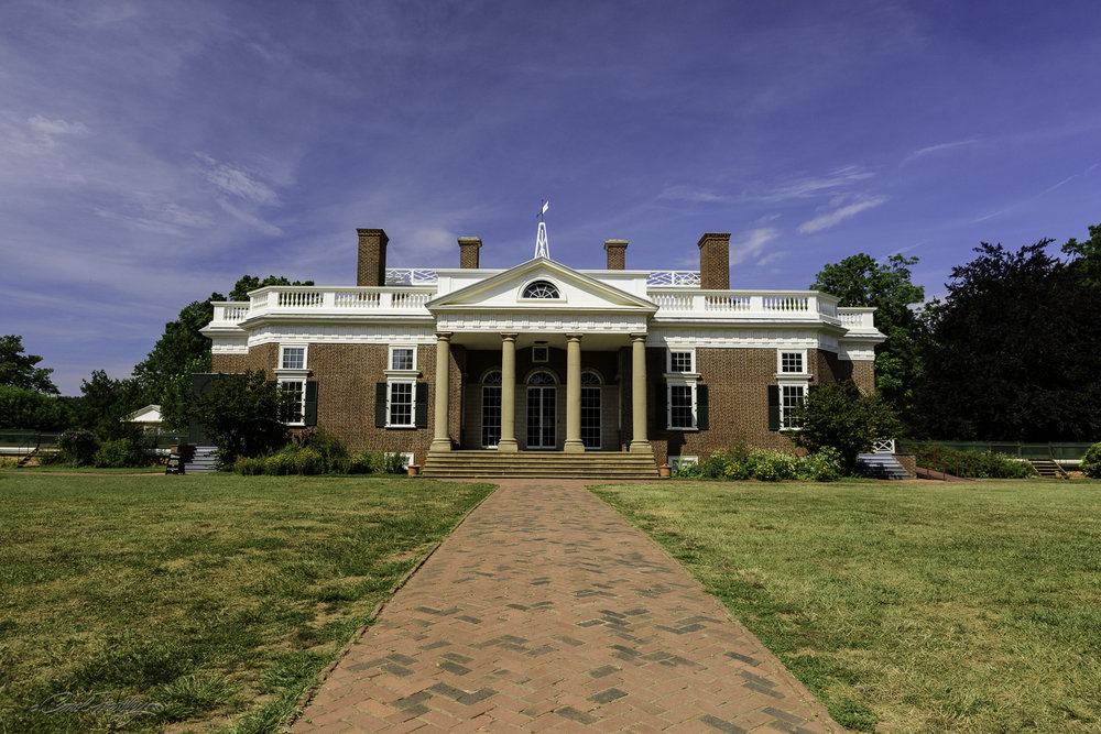 This is the quintessential view of Monticello. This is the front of home. The back of Monticello is what is found on our nickel.