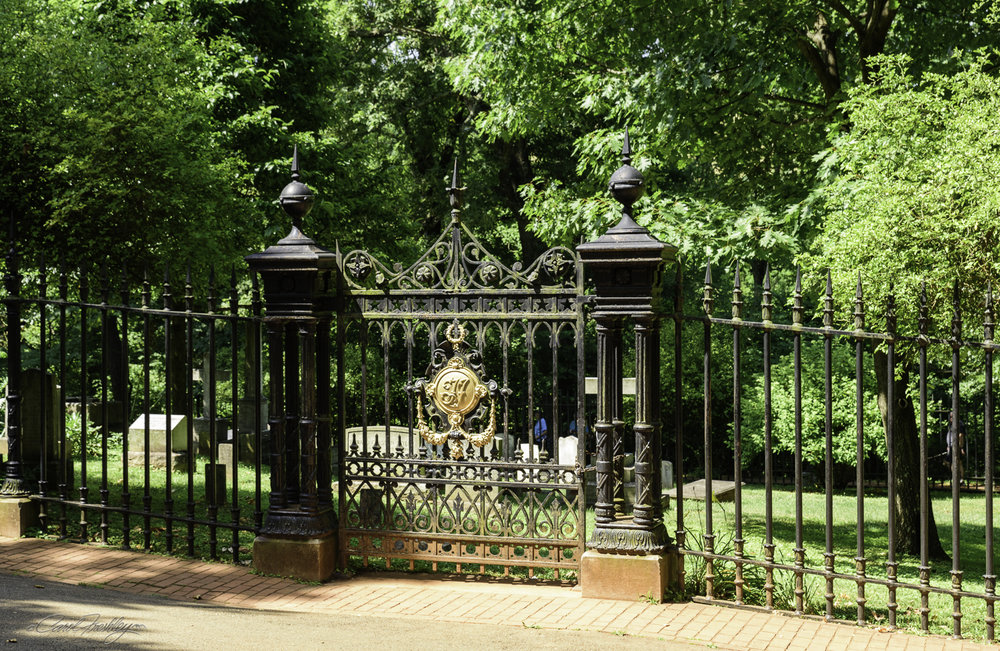 There are two cemeteries at Monticello. This one is just down the hill from the house and contains the remains of Thomas Jefferson and his family. Jefferson's descendants may still be buried there as there are places for additional plots.