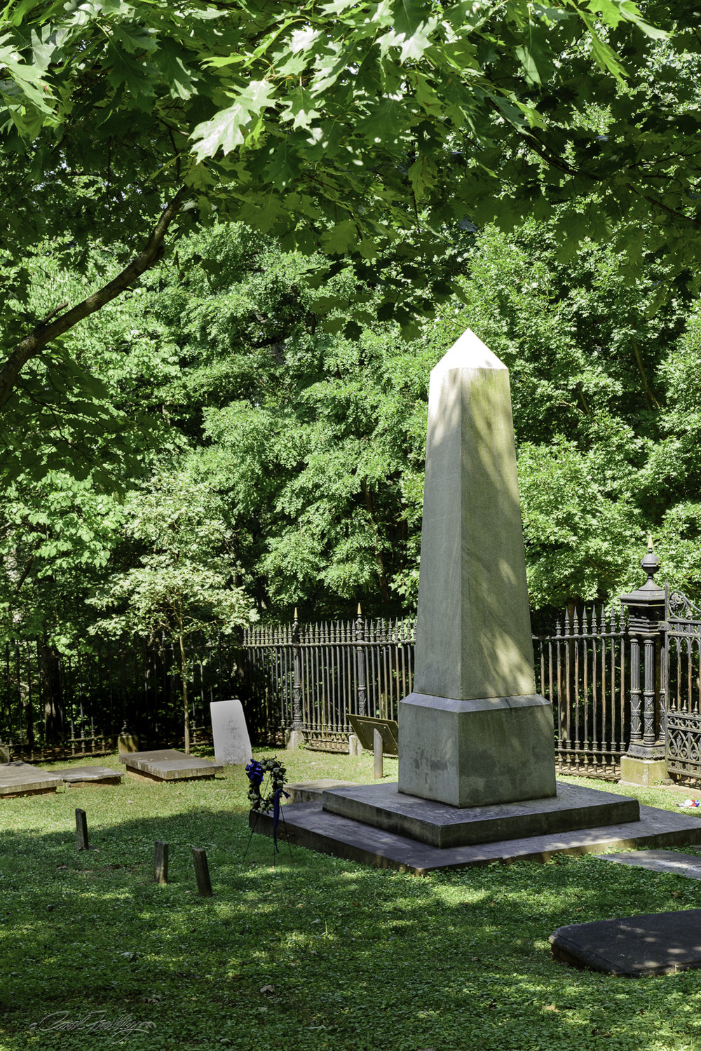The back side Thomas Jefferson's tombstone.