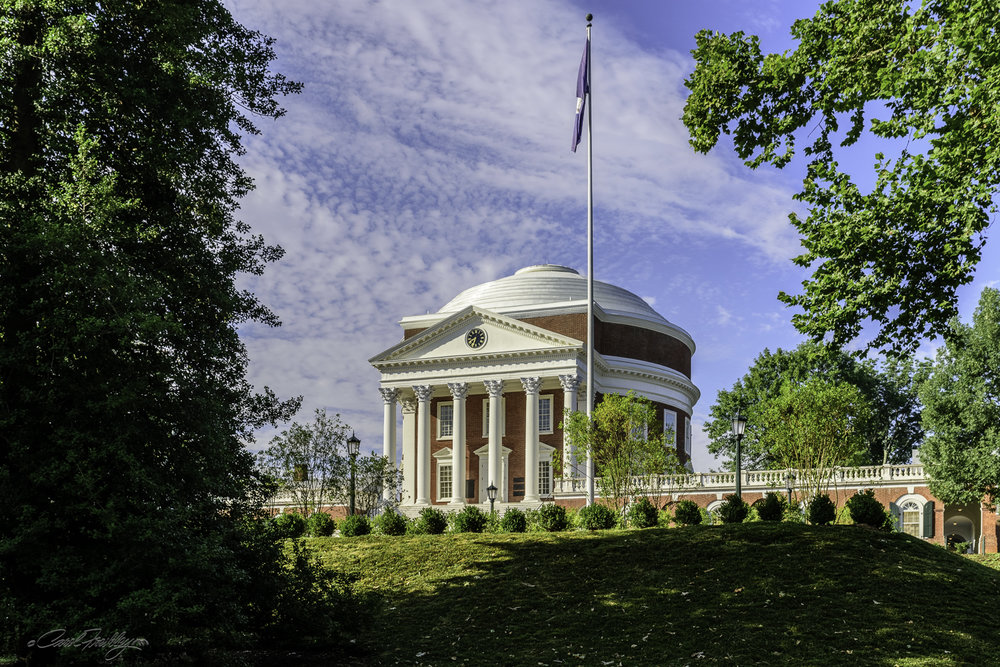 This is a first glance at the Rotunda, the focal point of Jefferson's Academical Village.  It was modeled after the Pantheon in Rome, but at half its diameter and height.