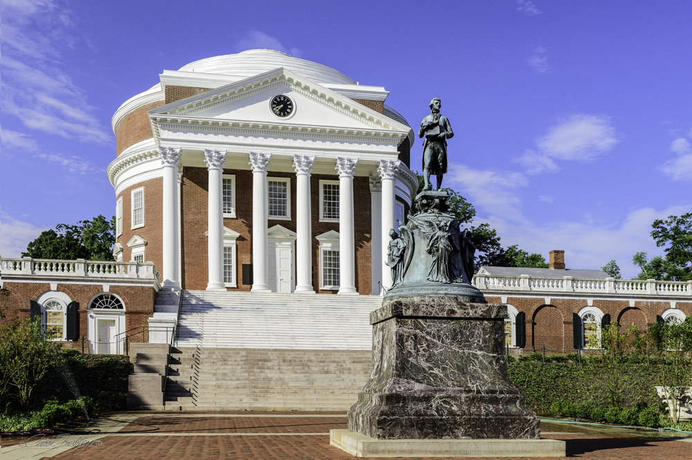 The statue of Thomas Jefferson in front of the Rotunda is most appropriate.  He was the founder and deeply involved in all aspects of its creation, from curriculum, recruitment of faculty and campus design.  The University celebrates it bicentennial anniversary in 2017!
