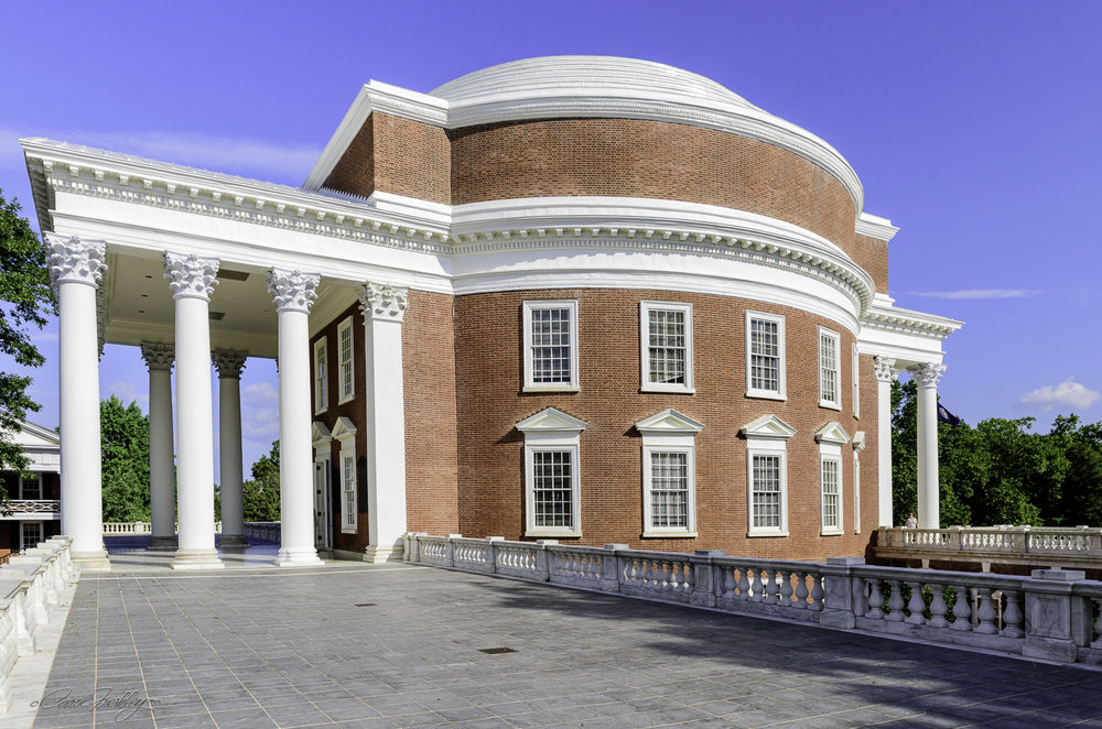 This is a side view of the back side of the Rotunda, the back side being the one that looks across the lawn.
