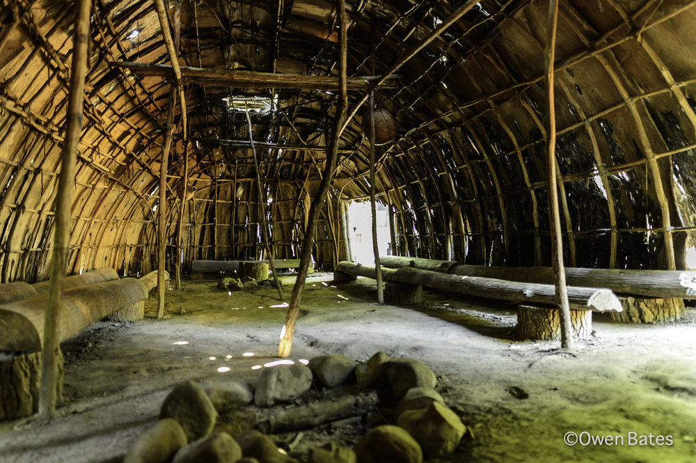 This is the inside of the 'long house' which was used as a gathering place for the leaders of different communities to come together.