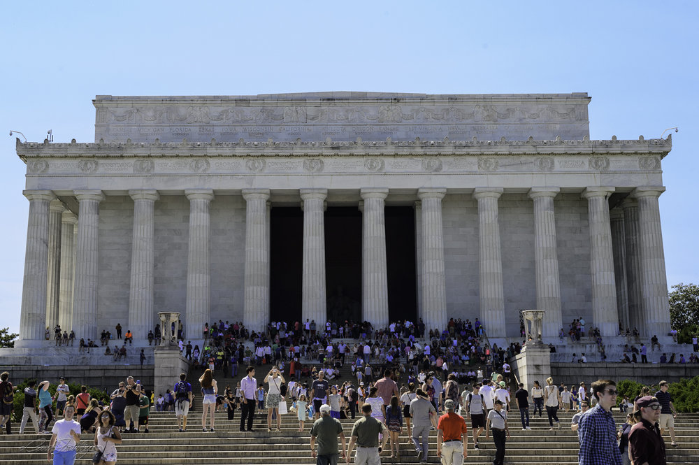 A huge crowd outside the Lincoln Memorial.