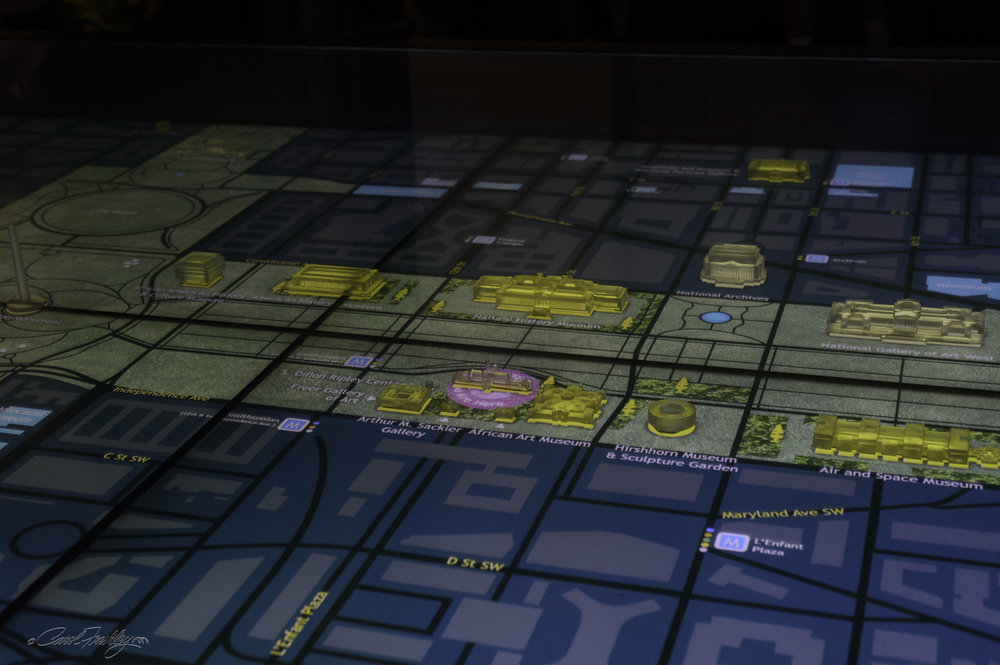 Inside the Smithsonian Castle is an interactive 'map' of the Mall and the locations of all the Smithsonian Museums.