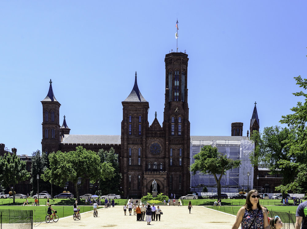 Looking across the Mall at the Smithsonian Castle.