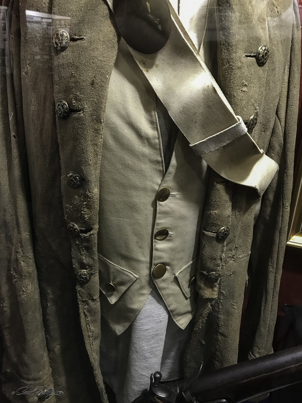 This is the Revolutionary War Uniform Coat of John Dunwoody, born in 1737.  He was a teacher in Pennsylvania before joining the war.  He wore this uniform while serving with General Washington during the Delaware River crossing on December 25, 1776, during the Battle of Trenton on December 26, 1776 and in the Battle of Brandywine on September 11, 1777 and other battles.  He married Susan Crestwell and was the father of 8 children.  One of his great-great-great grandaughters married Theodore Roosevelt.
