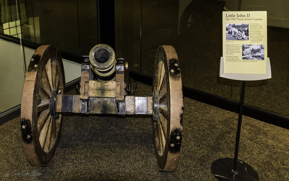 This canon, called Little John II is taken to each football game and is fired after every VMI touchdown.