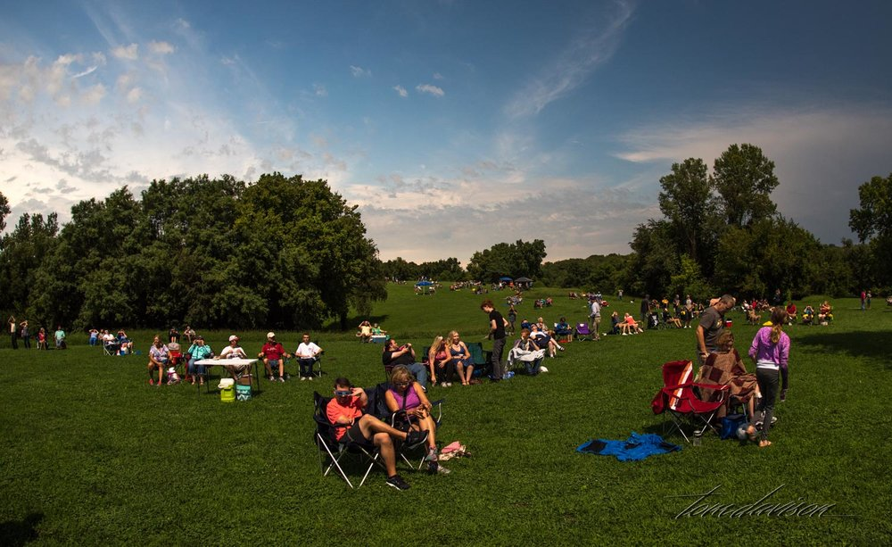 After totality ended, people started leaving. But many stayed behind to watch the second half of the show.