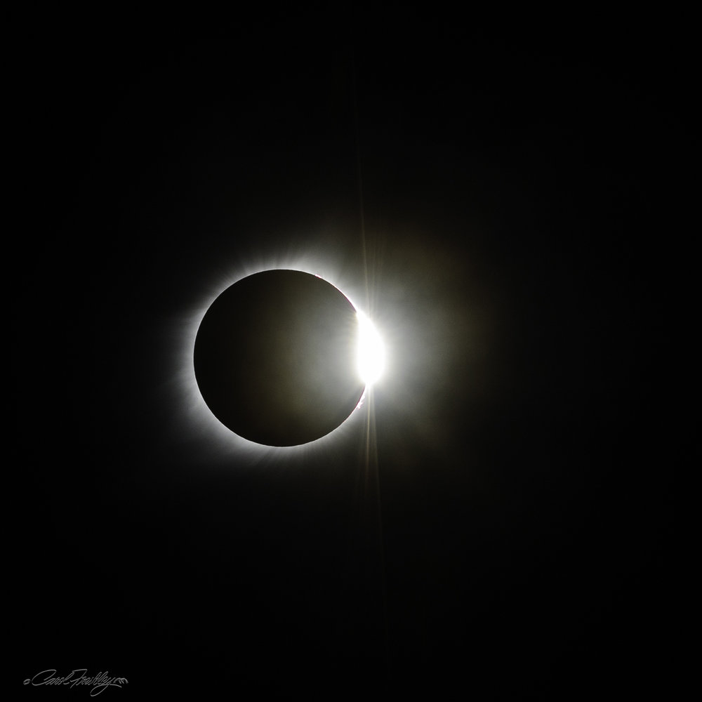 The Diamond Ring. This ring-like image occurs right at a split second before complete totality end. Same metadata and adjustments. All of these images were taken with the camera hand-held.