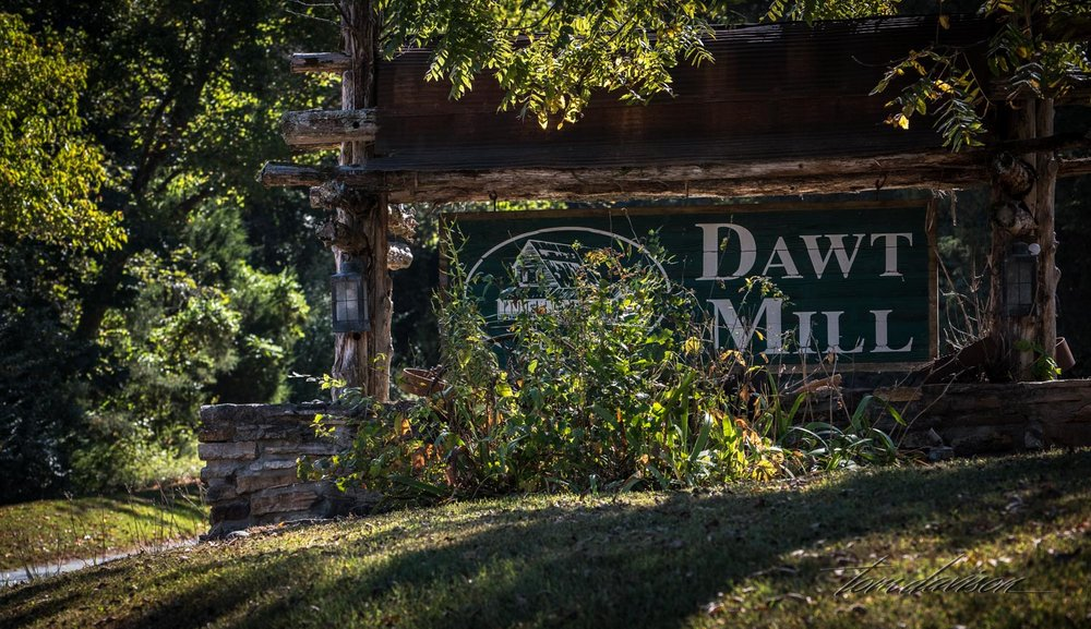 Dawt Mill was first on our grist mill tour.  Wow, were we disappointed.  We arrived to a scene of destruction, construction, noise, heavy duty equipment, furniture scattered everywhere, and men working in hard hats!!  The creek was behind a fence and barely visible.  There was no evidence of a mill that we could see.  We were not aware that this past April there was a huge flood in the area following many days of rain.  The water in the creek had risen to abut 15 feet above its normal high flow level and had taken out just abut everything and put it downstream.  The men working the site were in the process of trying to rebuild.  We took a photograph of the sign and drove away.  We have since learned that most mills have faced destruction from fire, floods and war (yep, both Union and Confederate soldiers were happy to destroy a mill so the other side could not use it).