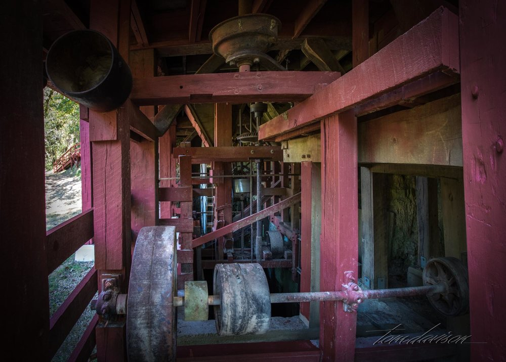 This is where the water wheel would have been located.  It is under the mill.