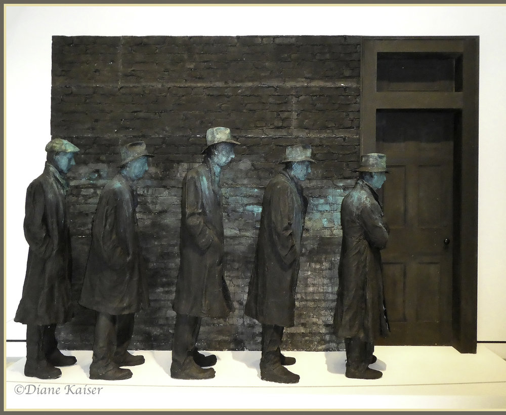 George Segal (1924-2000) sculpted these figures with plaster.  They represent the Americans waiting in line for public assistance during the Great Depression.  The title,  Depression Bread Line , suits the intent of evoking the emotional tenor of how it felt to live during this time.  A bronze cast of this original sculpture marks the Roosevelt Memorial in Washington, D.C.