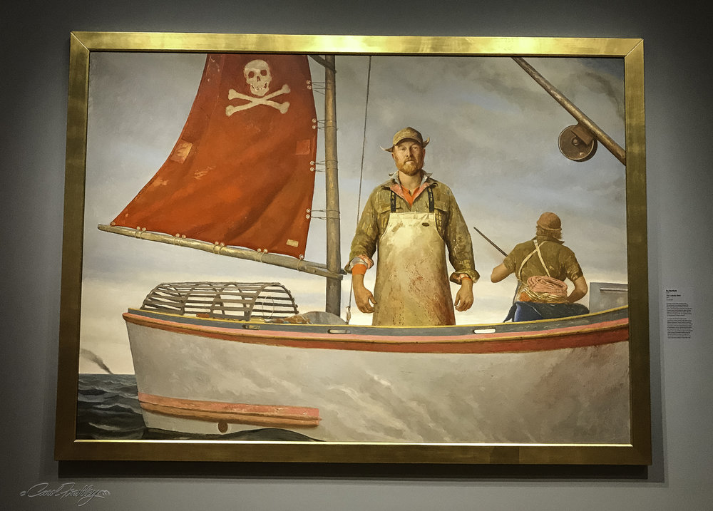 This  Lobster Wars , by Bo Bartlett (1955-) is an oil on linen depicting the sometimes violent conflicts that arise between lobster fishermen who have, for generations, squabbled over fishing territories.  His allusions to pirates and Vikings link these present-day sea farmers to historically fierce warriors of the high seas.