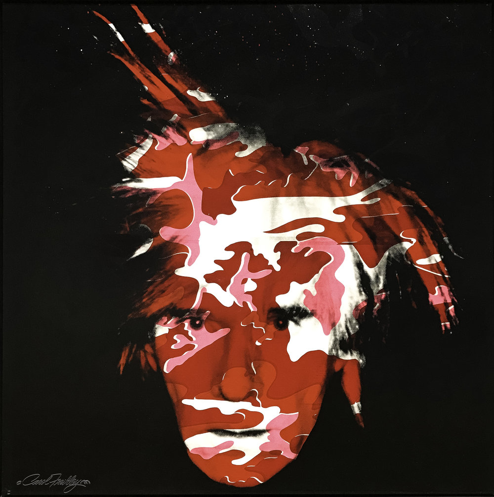 Andy Warhol (1928-1987)  Self-Portrait with Camouflage  made of silkscreen inks and synthetic polymar on canvas.