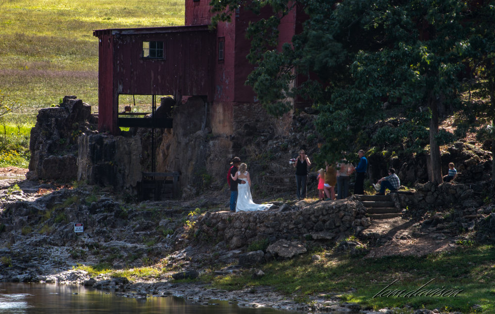 In addition to the shade, there was a wedding in process!!  We gave them full privacy and photographed other areas before heading into the mill to check it out.