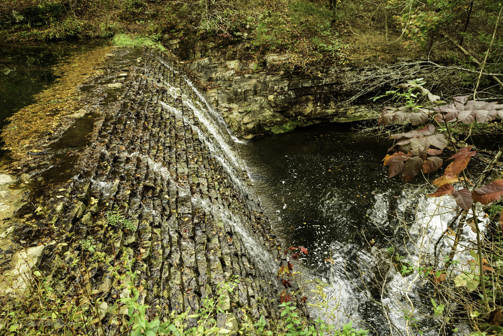 This brick dam, built by the CCC is what creates Gunner Pond.