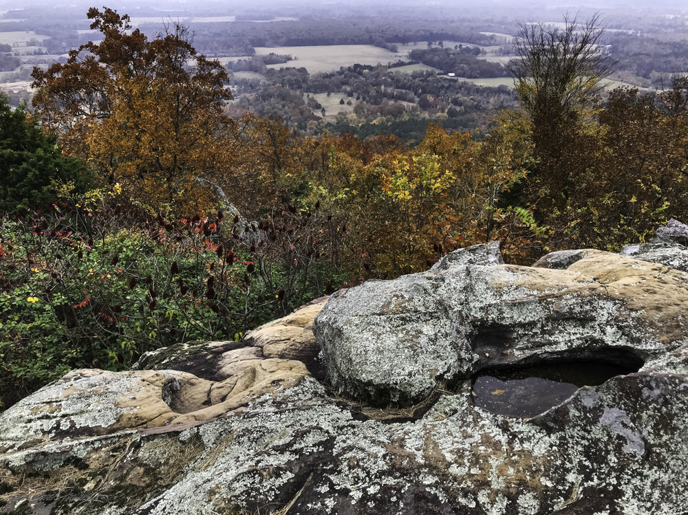 The first stop was at Petit Jean's gravesite and overlook.  This stop is about 4 miles before the entrance to the State Park.  This was the only overlook that included the Arkansas River and the fertile land that is farmed in the area.