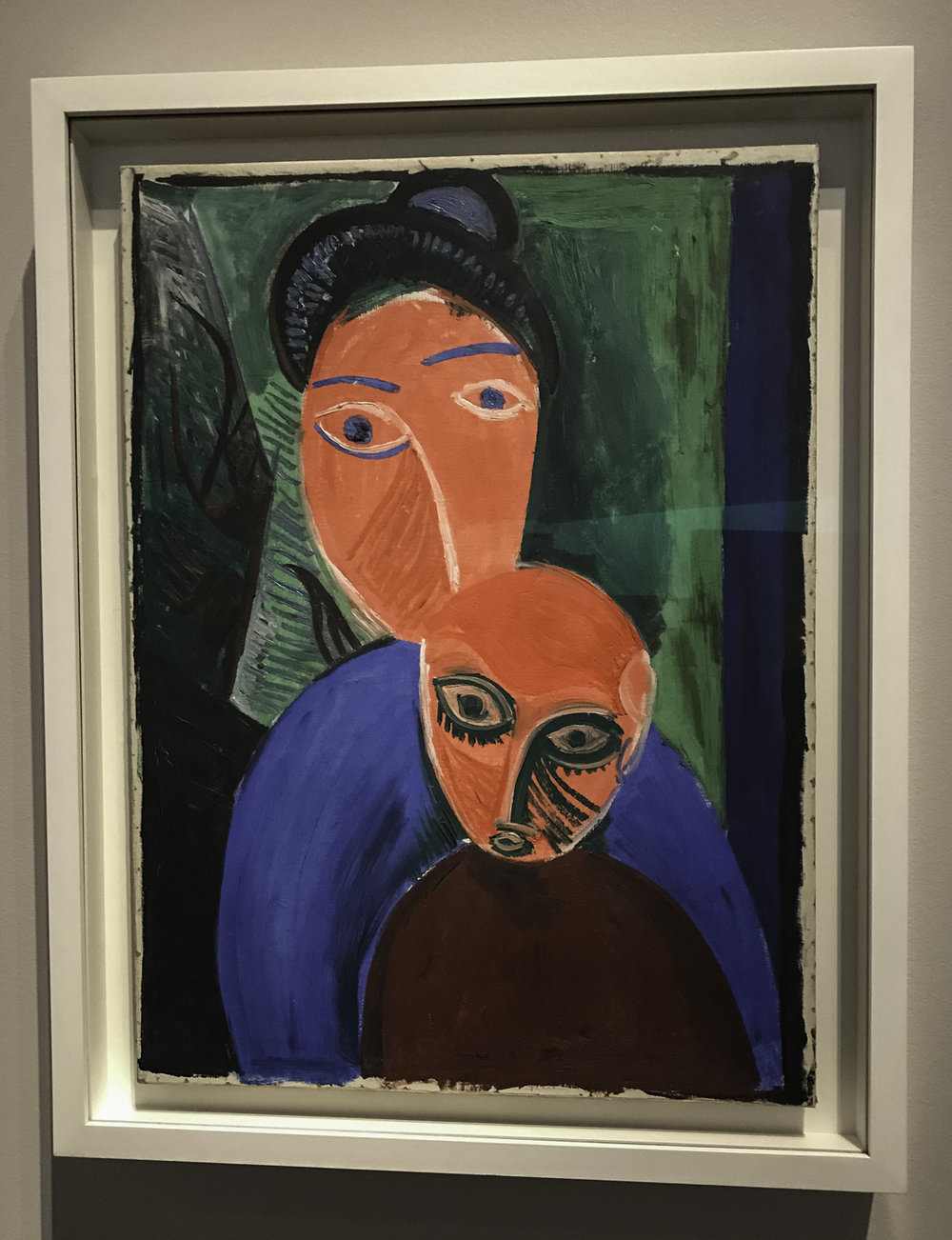 "Mother and Child,   oil on canvas, 1907.  ""Motherhood takes an unusual turn in this painting, which followed the completion of the completion of   Les Demoiselles d""Avignon  . Vivid contrasting colors, stylized faces and coarse brushstrokes seem to defy the warmth and gentleness more commonly used to depict this subject.  It is another signal of Picasso's decisive turn toward a strong and often startling visual language."""